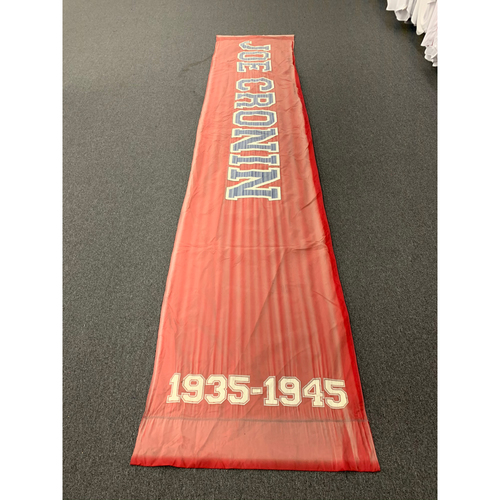 "Photo of Joe Cronin Team Issued Fenway Park Red Street Banner (34""x168"")"