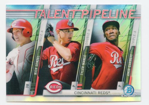 Photo of 2017 Bowman Chrome Talent Pipeline Refractors #TPCIN Nick Senzel/Tyler Mahle/Amir Garrett