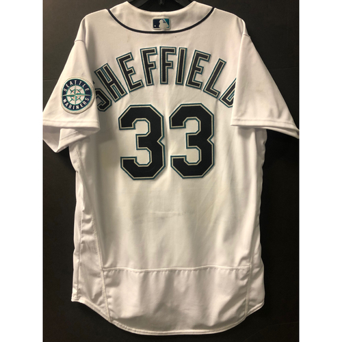 Photo of Justus Sheffield Home White Game Used Jersey - Worn 8/3/2020 against OAK