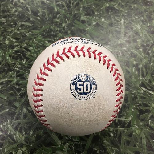 Photo of Game-Used Baseball MIN@MIL 08/11/20 - Josh Lindblom - Eddie Rosario: 2-Run HR (6)