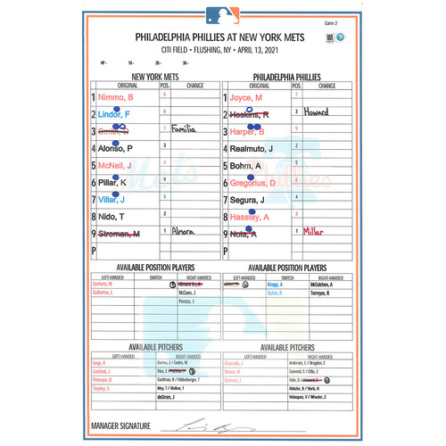 Photo of Game Used Lineup Card - Stroman 6 IP, 0 ER, 3 K's, Earns 2nd Win of 2021; Lindor 1-3, 2B, BB; Nimmo 3-4, 3 RBI's; Mets Win 4-0 - Mets vs. Phillies - 4/13/21 - Game 2