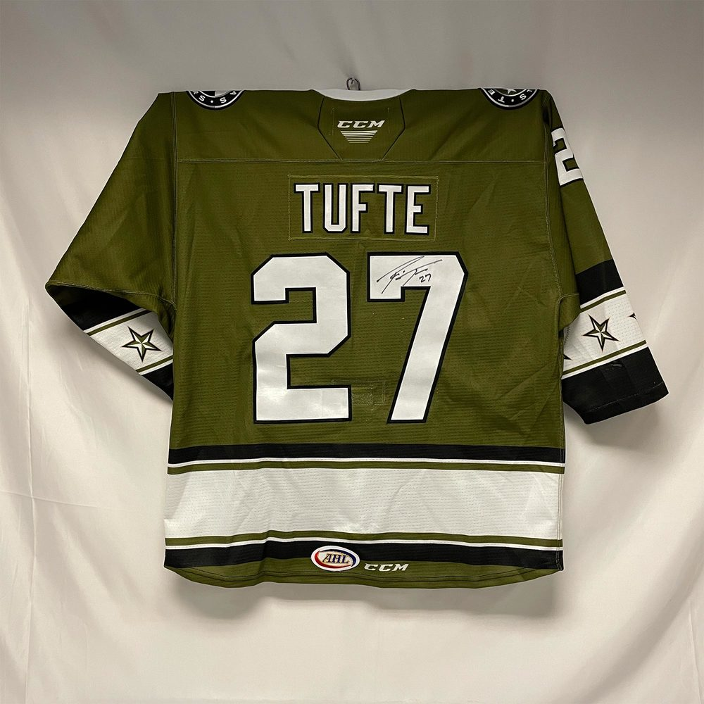 2020-21 Texas Stars Military Appreciation Jersey Worn and Signed by #27 Riley Tufte