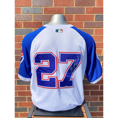 Photo of Austin Riley MLB Authenticated, Autographed (Team-Issued or Game-Used) 1974 Style Jersey
