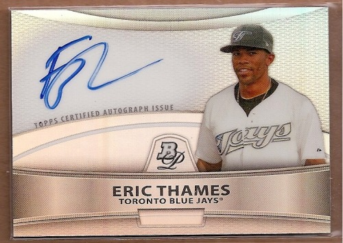Photo of 2010 Bowman Platinum Prospect Autographs Refractors Eric Thames