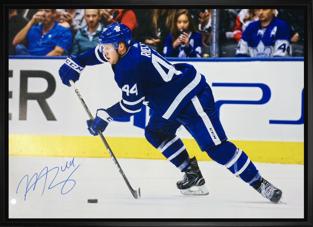 Morgan Rielly - Signed 20x29 Framed Canvas Maple Leafs Action-H