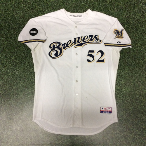Photo of Jimmy Nelson Game-Used 2014 Home White Jersey
