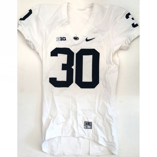 Photo of Penn State Game-Used Football Jersey: White #30 (Size 44)