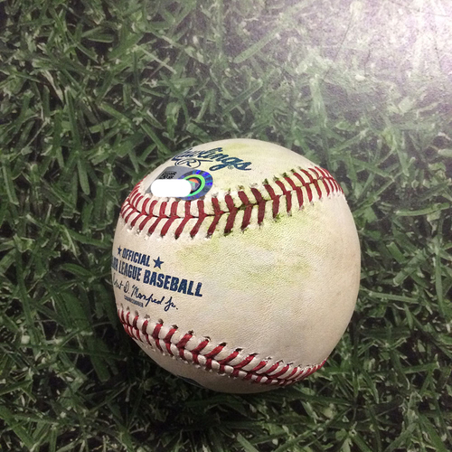 Photo of Game-Used Baseball CLE@MIL  05/09/18 - Junior Guerra - Jose Ramirez: Double
