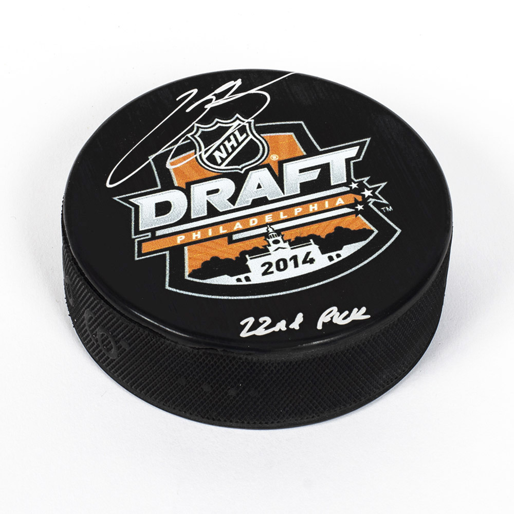 Kasperi Kapanen 2014 NHL Draft Day Autographed Puck with 22nd Pick Inscription