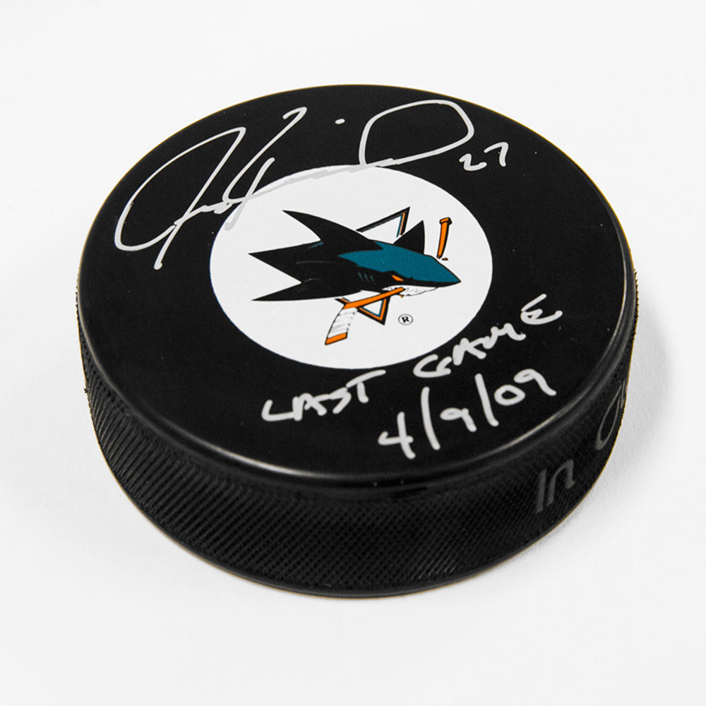 Jeremy Roenick San Jose Sharks Signed Autograph Model Puck with Last Game Note