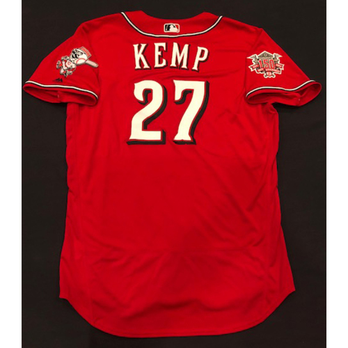 "Photo of Matt Kemp -- Team-Issued ""Los Rojos"" Jersey -- D-backs vs. Reds on 9/6/19 -- Jersey Size 48"