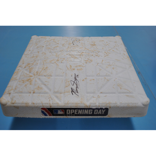 MLB Opening Day Auction Supporting The Players Alliance - Game-Used and Autographed 2020 Opening Day Base - Los Angeles Angels at Oakland Athletics - 2nd Base Game Used Innings 4-6 - Tony Kemp and Marcus Semien