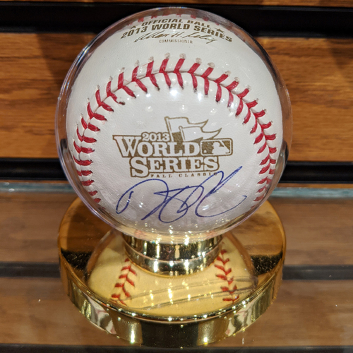 Photo of Dustin Pedroia Autographed 2013 World Series Baseball