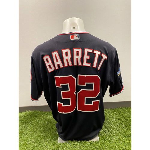Team-Issued Aaron Barrett 2019 Navy Script Jersey with Postseason Patch