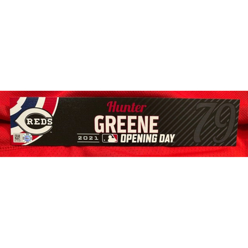 Photo of Hunter Greene -- 2021 Opening Day Locker Tag -- Team-Issued -- Cardinals vs. Reds on 4/1/21