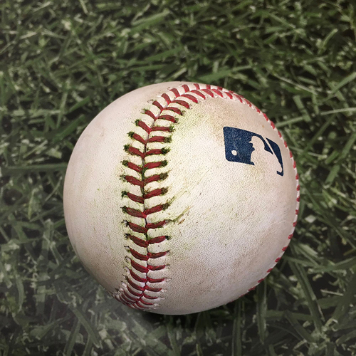 Photo of Game-Used Baseball ATL@MIL 10/09/21 (NLDS Game 2) - Brandon Woodruff - Freddie Freeman: RBI Single (Freeman's 10th Career Postseason RBI, 1st of 2021)
