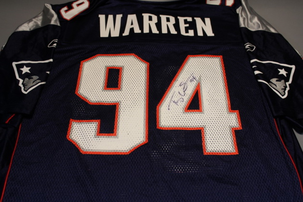 PATRIOTS - TY WARREN SIGNED REPLICA PATRIOTS JERSEY - SIZE LARGE
