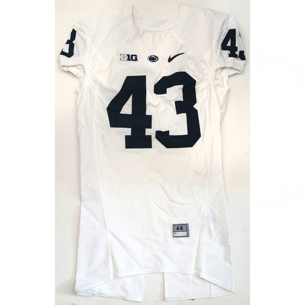 Photo of Penn State Game-Used Football Jersey: White #43 (Size 44)