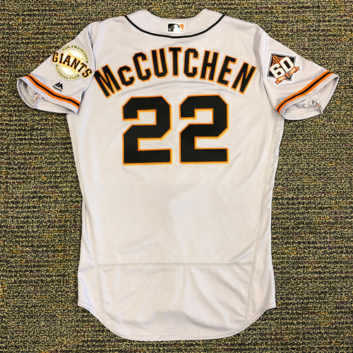 Photo of San Francisco Giants - 2018 Opening Day Game-Used Road Jersey - Worn by #22 Andrew McCutchen on 3/29/2018 vs. the Los Angeles Dodgers - Jersey Size 42