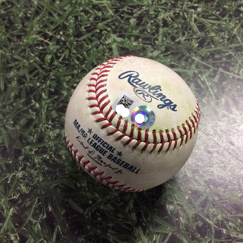 Photo of Game-Used Baseball CLE@MIL  05/09/18 - Junior Guerra - Jason Kipnis: Single