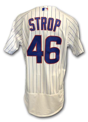 Photo of Pedro Strop Game-Used Jersey -- Rockies vs. Cubs -- 10/2/18 -- 2018 Postseason Wild Card -- 1.0 IP, 2 K