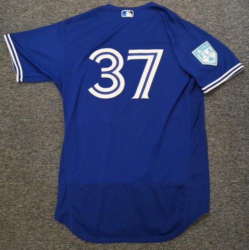 Photo of Authenticated Game Used 2019 Spring Training Jersey - #37 Teoscar Hernandez (Mar 25: 0-for-3 with 1 RBI). Size 46