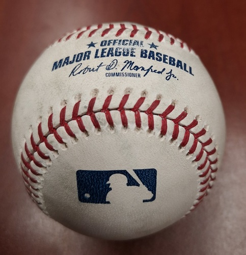 Photo of Authenticated Game Used Baseball - Edwin Jackson strikes out Jackie Bradley Jr. (May 20, 19 vs BOS). Top 4