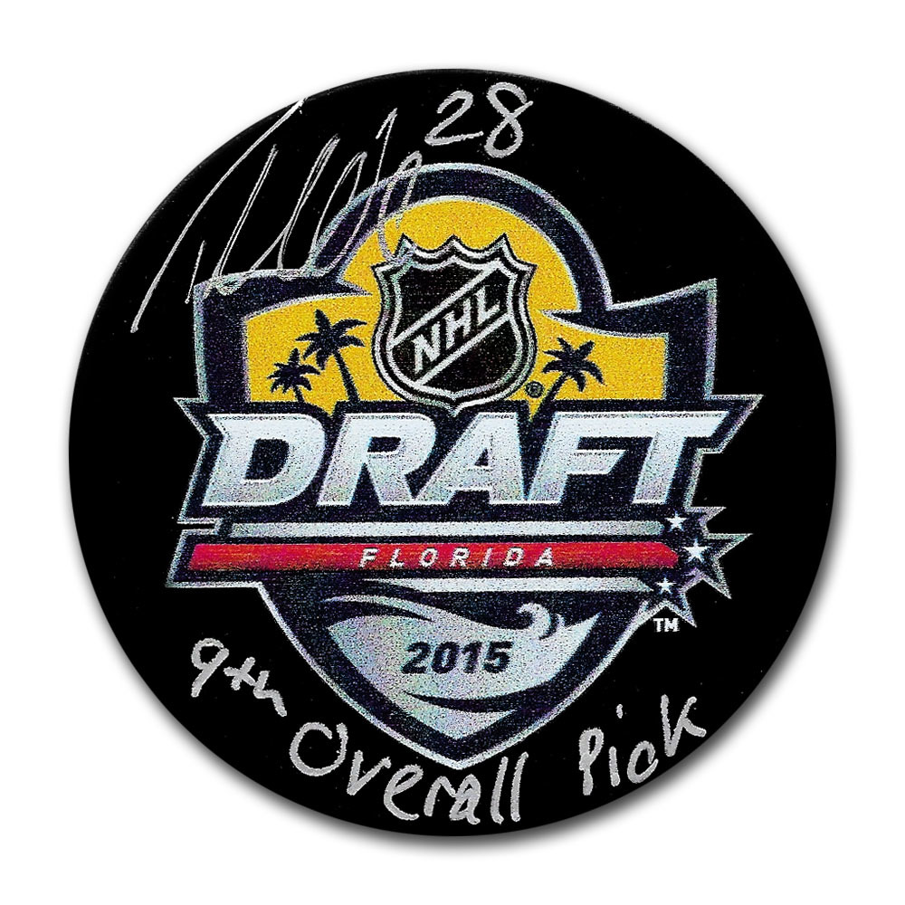 Timo Meier Autographed 2015 NHL Entry Draft Puck w/9TH OVERALL PICK Inscription