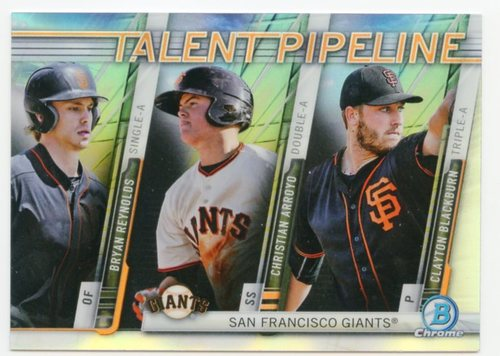 Photo of 2017 Bowman Chrome Talent Pipeline Refractors #TPSFG Bryan Reynolds/Christian Arroyo/Clayton Blackbu