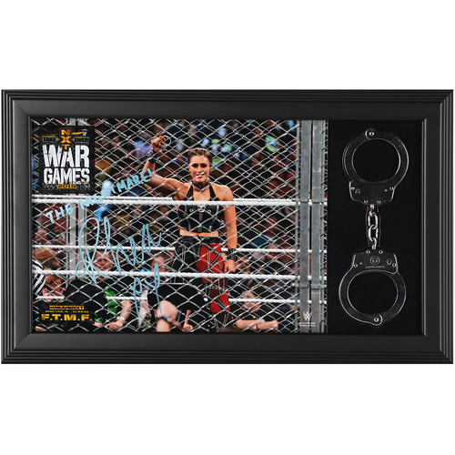 Rhea Ripley USED and SIGNED WarGames 2019 Handcuffs Frame