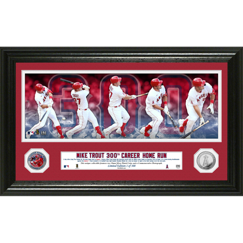 Photo of Serial #1! Mike Trout 300th Homerun Panoramic Silver Coin Photo Mint