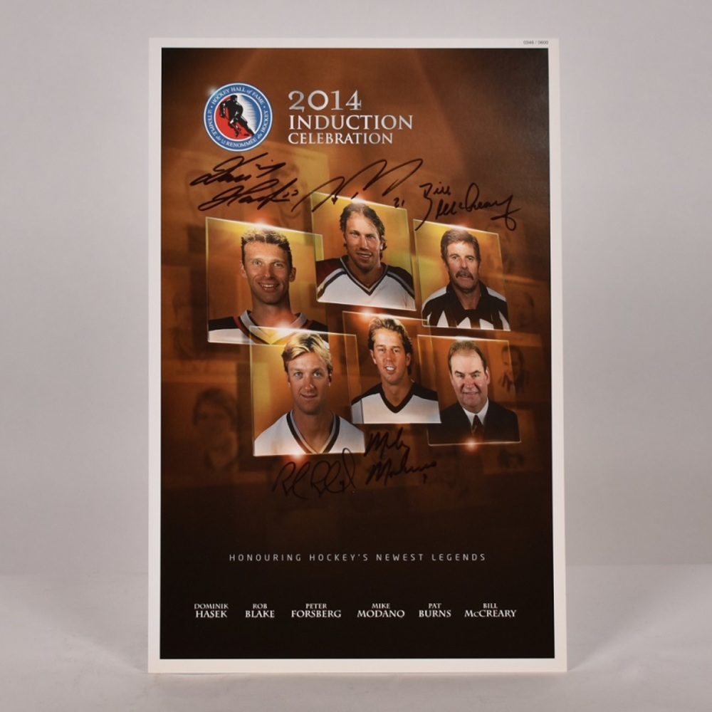Forsberg, Hasek, Modano, Blake, Burns, McCreary - Class of 2014 Induction Signed Poster - Limited Edition