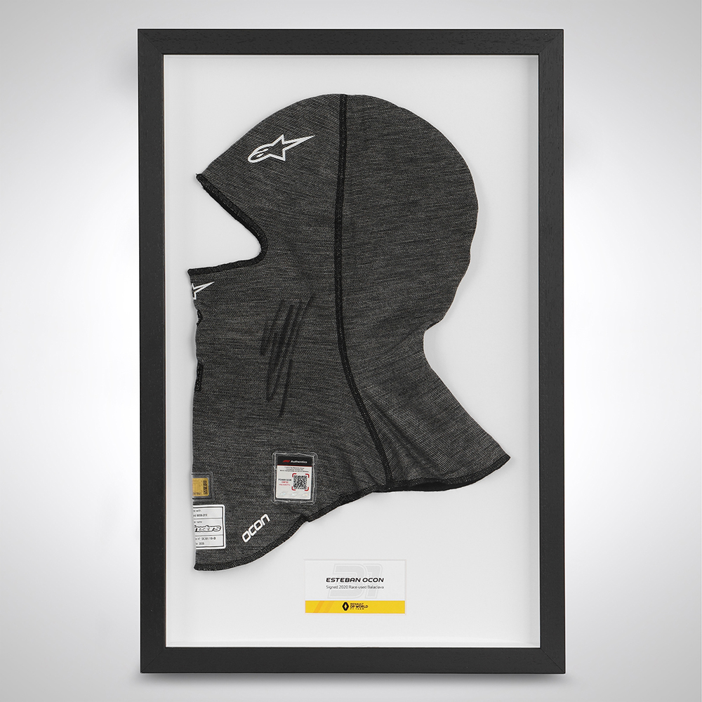 Esteban Ocon 2020 Framed Signed Race-worn Balaclava - Turkish GP