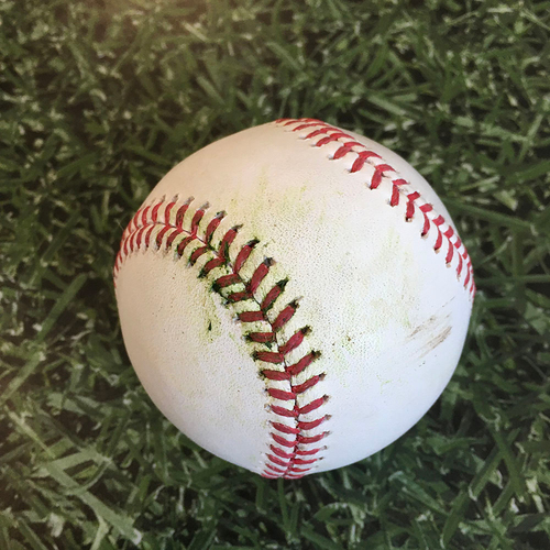 Photo of Game-Used Baseball KC@MIL 09/18/20 - Adrian Houser - Salvador Perez: 2-Run Double