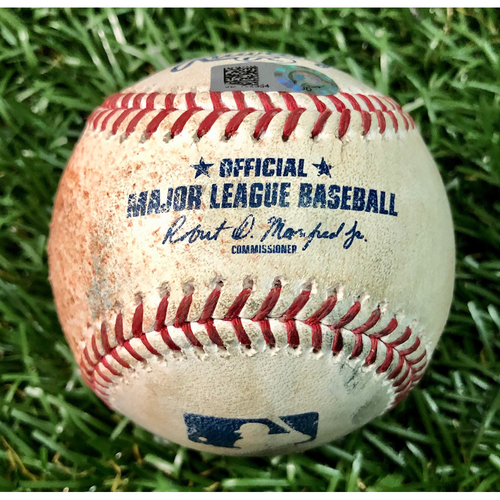 Photo of Game Used Baseball: Brandon Lowe fly out and Yandy Diaz single off Josh Tomlin - July 28, 2020 v ATL
