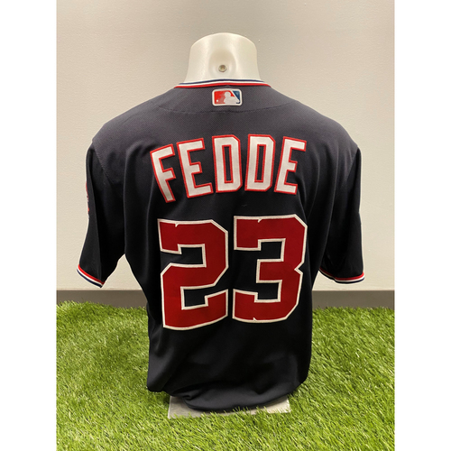 Photo of Team-Issued Erick Fedde 2019 Navy Script Jersey with Postseason Patch