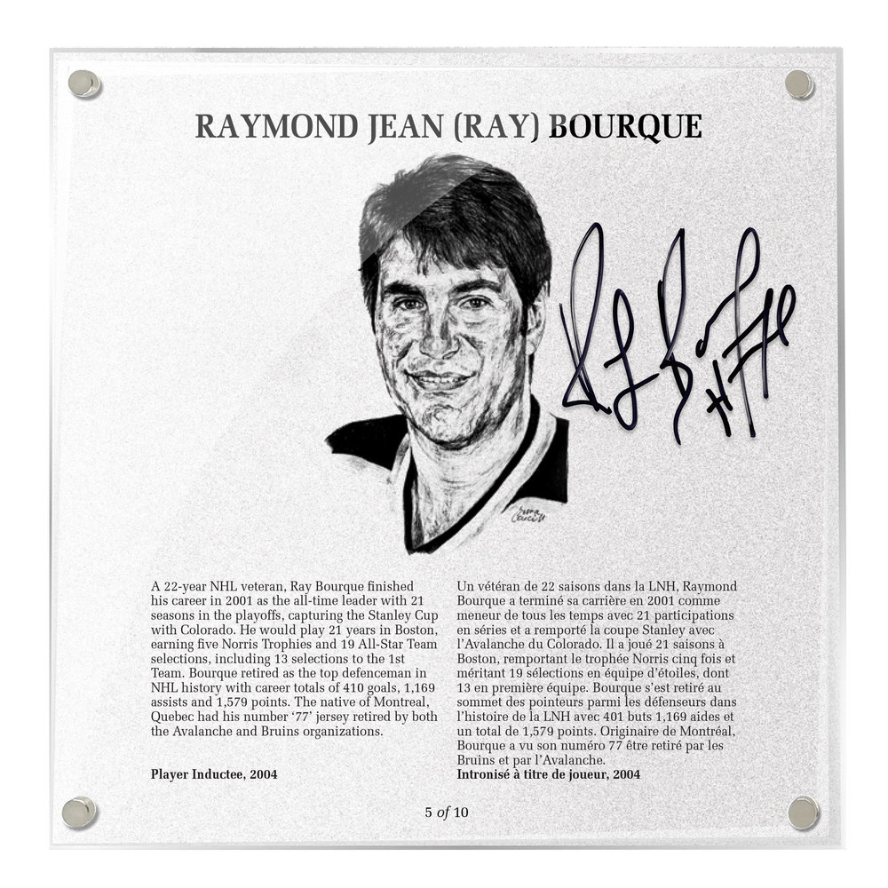 Ray Bourque Autographed Legends Line Honoured Member Plaque - Limited Edition 6/10