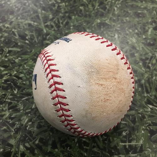 Photo of Game-Used Baseball HOU@MIL 09/02/19 - Adrian Houser - George Springer: Single