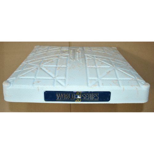Photo of Game-Used Base - 2020 World Series Game 4 - Los Angeles Dodgers vs. Tampa Bay Rays - 1st Base Innings 1-6