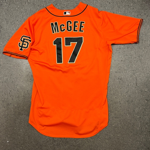 Photo of 2021 Game Used Orange Home Alt Jersey worn by #17 Jake McGee on 4/23 vs. MIA - 1.0 IP, 3 K's - Size 48