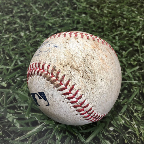Photo of Game-Used Baseball ATL@MIL 10/09/21 (NLDS Game 2) - Max Fried - Eduardo Escobar: Strikeout (Fried's 35th Career Strikeout, 5th of 2021)