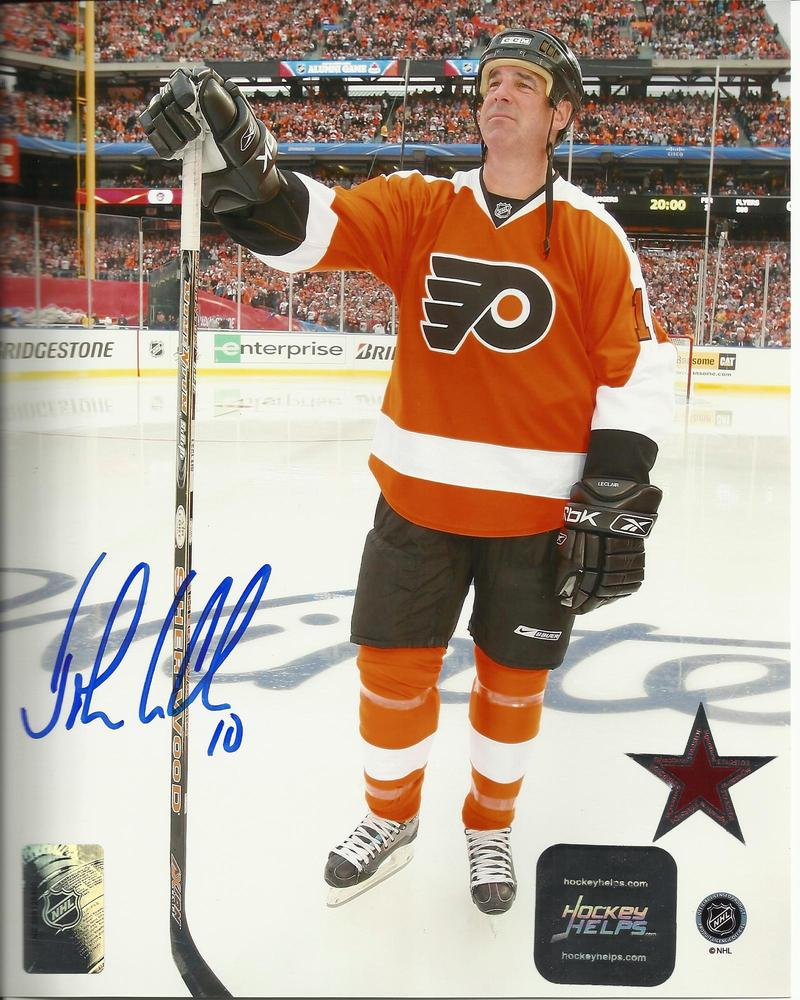 John Leclair Autographed Philadelphia Flyers Winter Classic 8x10 Photograph