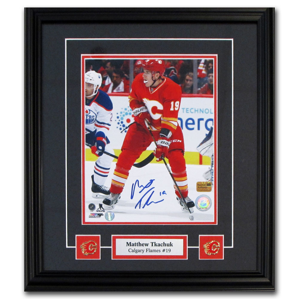 Matthew Tkachuk Autographed Calgary Flames Framed 8X10 Photo