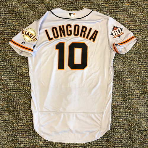 Photo of San Francisco Giants - 2018 Opening Day Game-Used Road Jersey - Worn by #10 Evan Longoria on 3/29/2018 vs. the Los Angeles Dodgers - Jersey Size 44