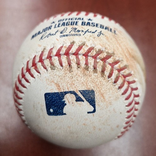 Photo of Authenticated Game Used Baseball - Single by Sandy Leon against Edwin Jackson (May 20, 19 vs BOS). Top 4
