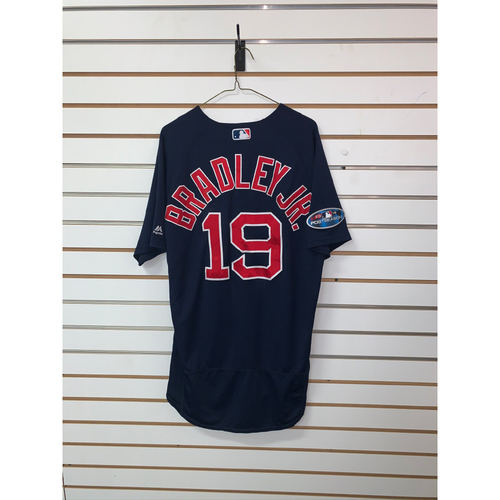 Photo of Jackie Bradley Jr Game Used September 21, 2018 Road Alternate Jersey