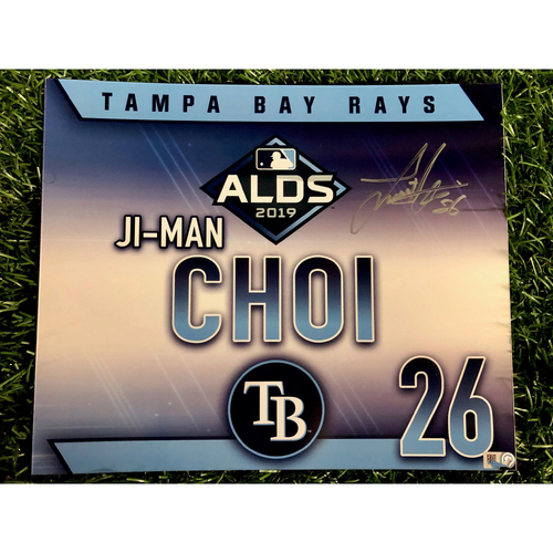 Photo of Game Used ALDS Autographed Locker Tag: Ji-Man Choi - October 7, 2019 v HOU