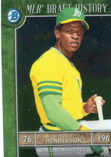 Photo of 2017 Bowman Chrome Draft MLB Draft History #MLBDRH Rickey Henderson