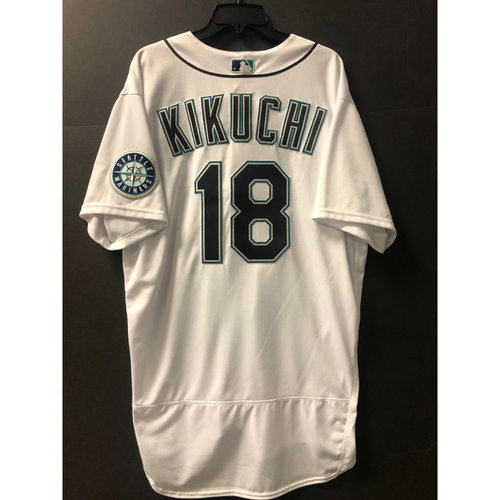 Photo of Yusei Kikuchi Home White Game Used Jersey - Worn 8/1/2020 against OAK