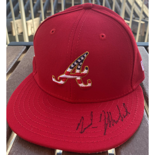 Photo of Nick Markakis Autographed 4th of July Hat